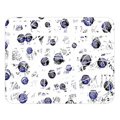 White and deep blue soul Double Sided Flano Blanket (Large)