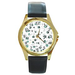 White and green soul Round Gold Metal Watch