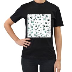 White and green soul Women s T-Shirt (Black) (Two Sided)