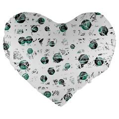 White and green soul Large 19  Premium Heart Shape Cushions