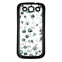 White and green soul Samsung Galaxy S3 Back Case (Black)