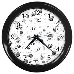 White and gray soul Wall Clocks (Black)