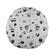 White and gray soul Standard 15  Premium Round Cushions