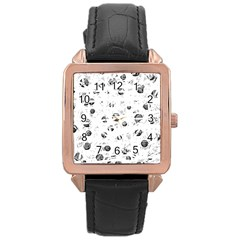 White and gray soul Rose Gold Leather Watch