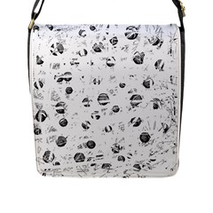White and gray soul Flap Messenger Bag (L)