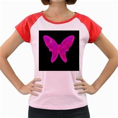 Purple butterfly Women s Cap Sleeve T-Shirt
