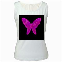 Purple butterfly Women s White Tank Top