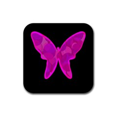 Purple butterfly Rubber Coaster (Square)