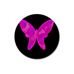 Purple butterfly Magnet 3  (Round)