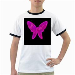 Purple butterfly Ringer T-Shirts