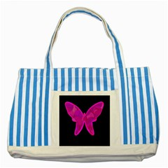 Purple butterfly Striped Blue Tote Bag