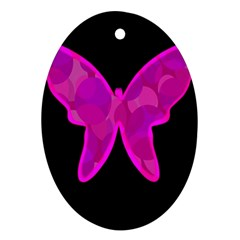Purple butterfly Oval Ornament (Two Sides)