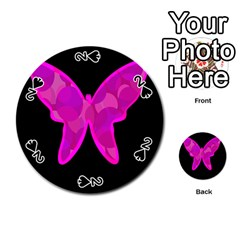 Purple butterfly Playing Cards 54 (Round)