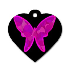 Purple butterfly Dog Tag Heart (One Side)