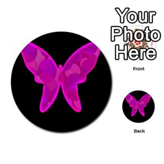 Purple butterfly Multi-purpose Cards (Round)