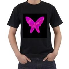Purple butterfly Men s T-Shirt (Black)