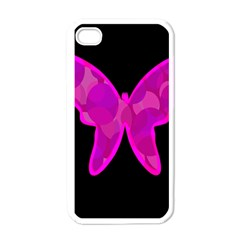 Purple butterfly Apple iPhone 4 Case (White)