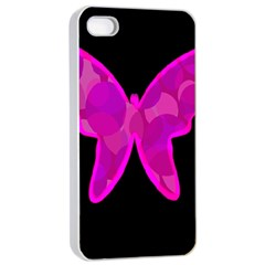Purple butterfly Apple iPhone 4/4s Seamless Case (White)
