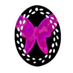 Purple butterfly Oval Filigree Ornament (2-Side)