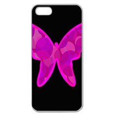 Purple butterfly Apple Seamless iPhone 5 Case (Clear)