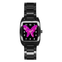 Purple butterfly Stainless Steel Barrel Watch