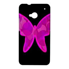 Purple butterfly HTC One M7 Hardshell Case