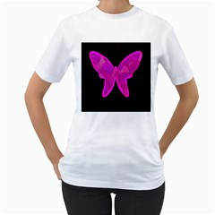 Purple butterfly Women s T-Shirt (White)