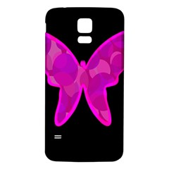 Purple butterfly Samsung Galaxy S5 Back Case (White)