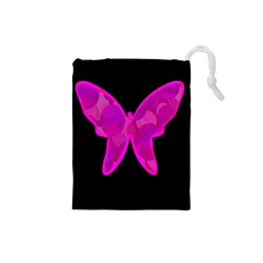Purple butterfly Drawstring Pouches (Small)