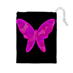 Purple butterfly Drawstring Pouches (Large)