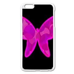 Purple butterfly Apple iPhone 6 Plus/6S Plus Enamel White Case