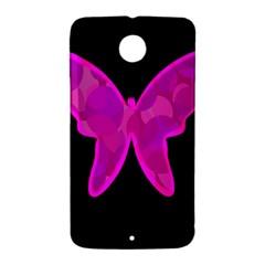 Purple butterfly Nexus 6 Case (White)