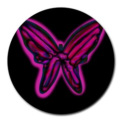 Purple neon butterfly Round Mousepads