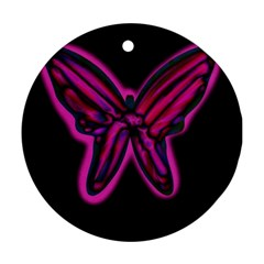 Purple neon butterfly Ornament (Round)