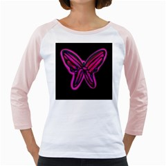 Purple neon butterfly Girly Raglans