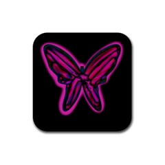 Purple neon butterfly Rubber Square Coaster (4 pack)