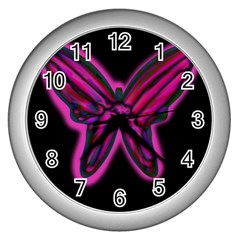 Purple neon butterfly Wall Clocks (Silver)