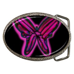 Purple neon butterfly Belt Buckles