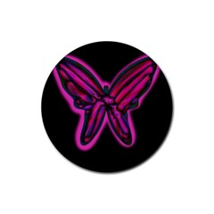 Purple neon butterfly Rubber Coaster (Round)