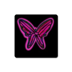 Purple neon butterfly Square Magnet