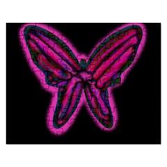 Purple neon butterfly Rectangular Jigsaw Puzzl