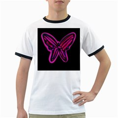 Purple neon butterfly Ringer T-Shirts