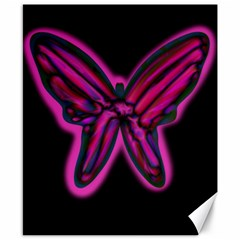 Purple neon butterfly Canvas 8  x 10