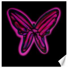 Purple neon butterfly Canvas 20  x 20