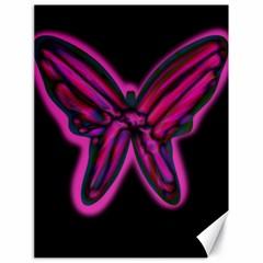 Purple neon butterfly Canvas 18  x 24