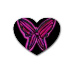 Purple neon butterfly Heart Coaster (4 pack)