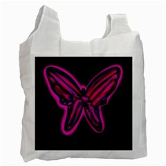 Purple neon butterfly Recycle Bag (Two Side)