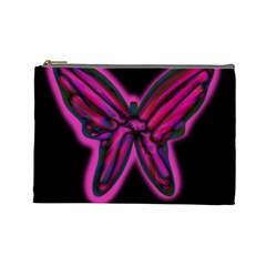 Purple neon butterfly Cosmetic Bag (Large)