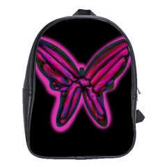 Purple neon butterfly School Bags(Large)