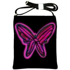 Purple neon butterfly Shoulder Sling Bags